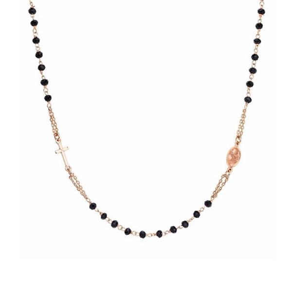 Collana rosario Amen in argento con cristalli